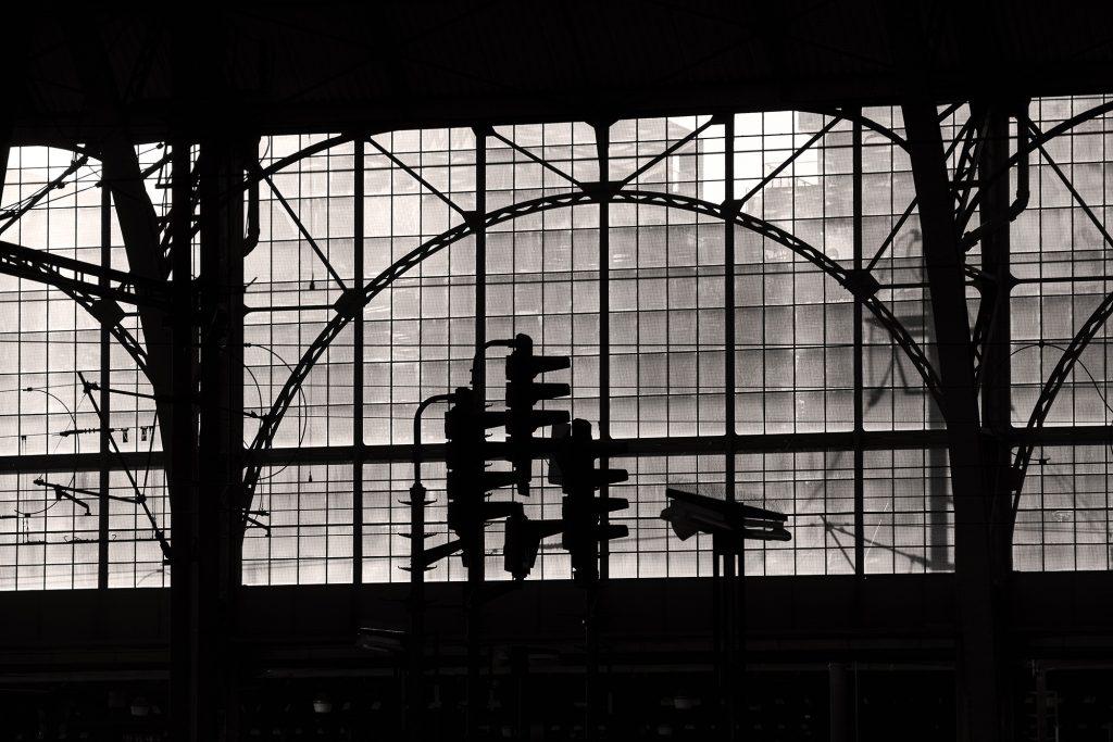 Main railway station in Prague. Black & White minimalist photography.