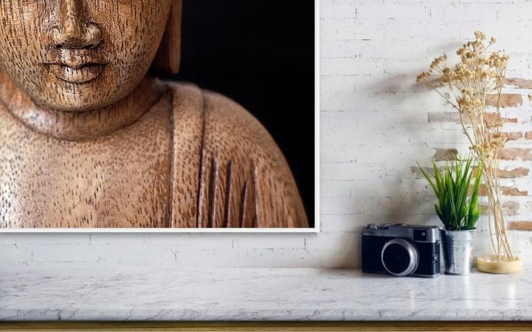 Buddha - Minimalistická fotografie vytištěná na papíře.