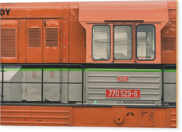 Locomotive - minimalism - wood print 61cm x 38cm