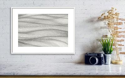 Minimalist art print sample with white frame