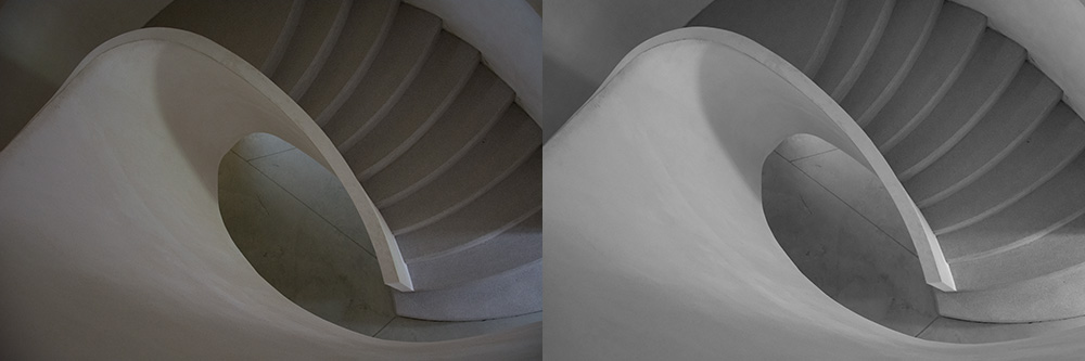 On the left is the direct export from RAW format and on the right the resulting photo after editing.