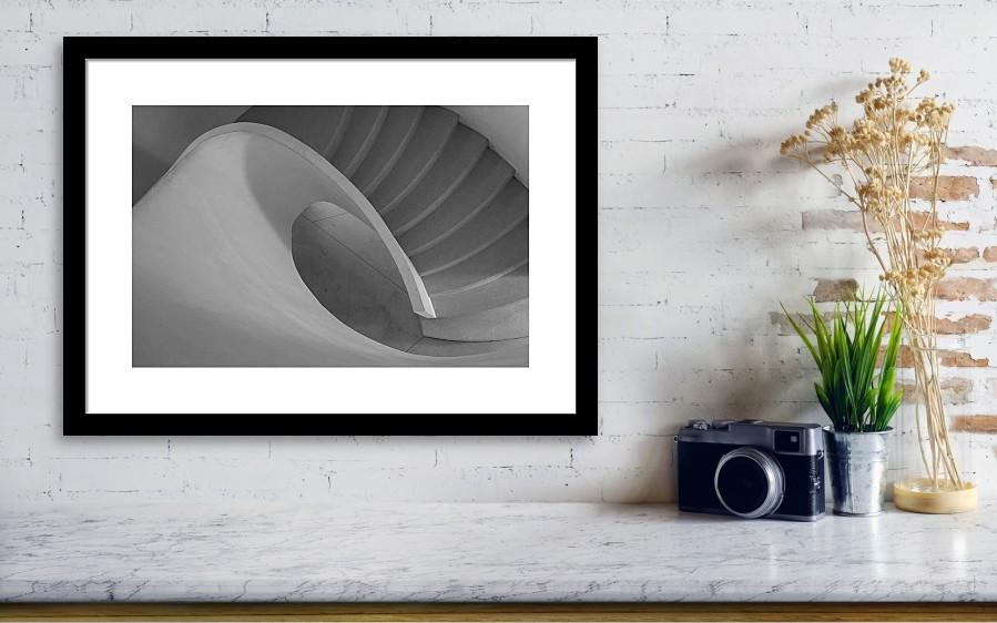 Curved Staircase 41cm x 27cm framed print