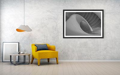 Art print sample: black wooden frame, 122cm x 81cm, 2 in mat, luster photo paper