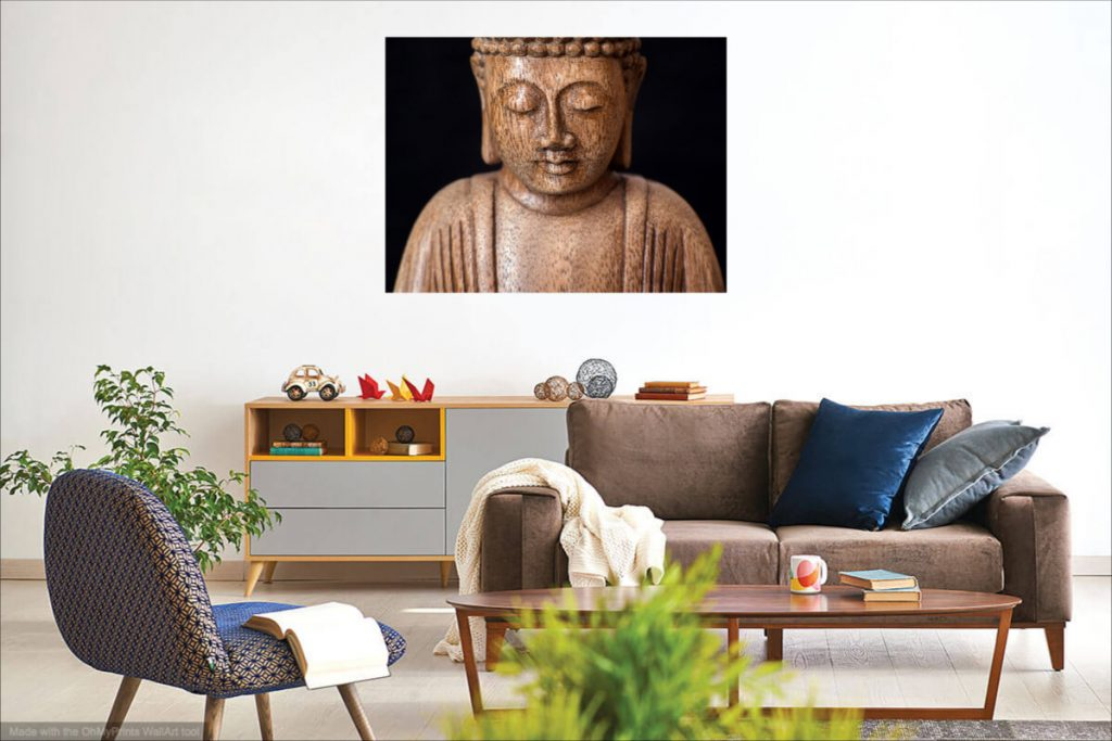 Minimalist people fine art photography print - living room example.